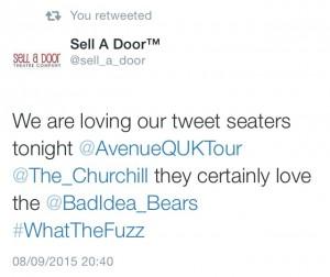 Avenue Q tweet seat at the Churchill Theatre