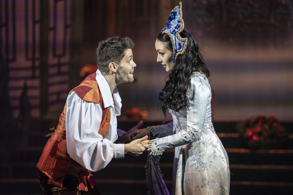 Aladdin Alexis Gerred and Stephanie Elstob in Aladdin at The Orchard Theatre. Credit Luke Varley.