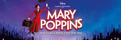 mary poppins banner withmary in a red coat flying next to the title