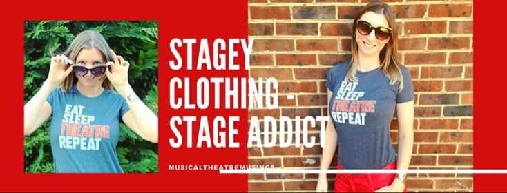 Sarah wearing stage addict t-shrt which says eat, sleep, theatre, repeat