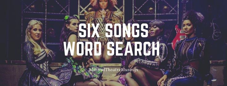 The cast of six with the title of six songs word search
